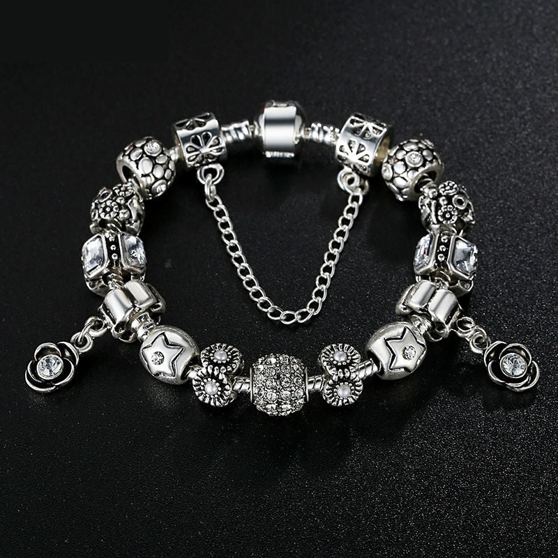 Women's Charm Bracelet with Flower Pendants & Cute Beads and Safety Chain