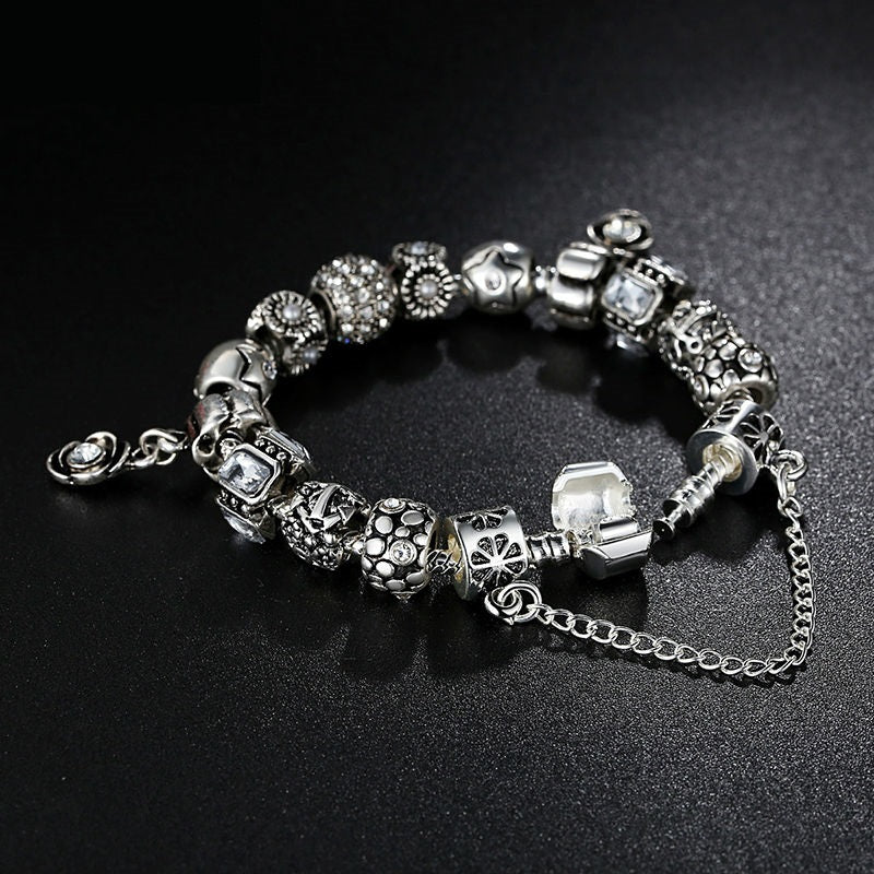 Gorgeous Bracelet for Women with 2 Diamond like Crystal Paved Flower Pendants