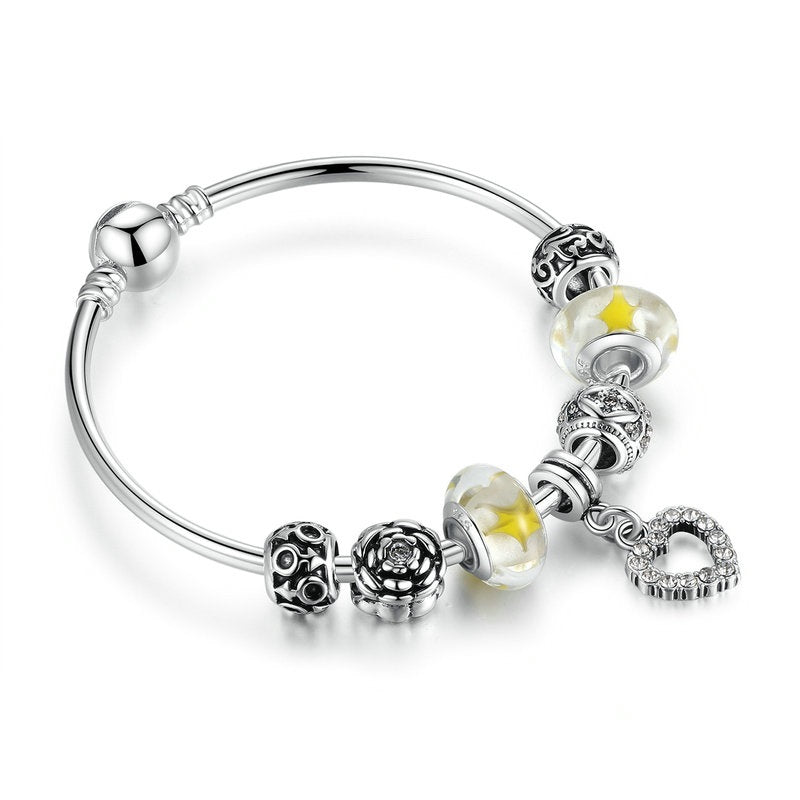 Trendy Bracelet for Women with crystal paved heart and lovely beads