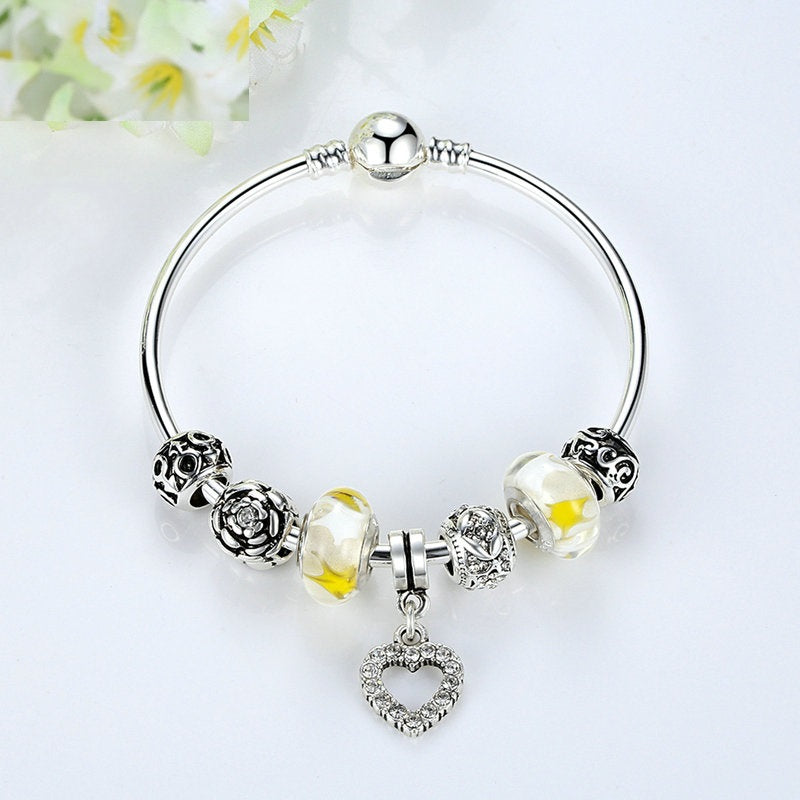 Women's Fashion Charm Bangles with heart pendant and beautiful beads