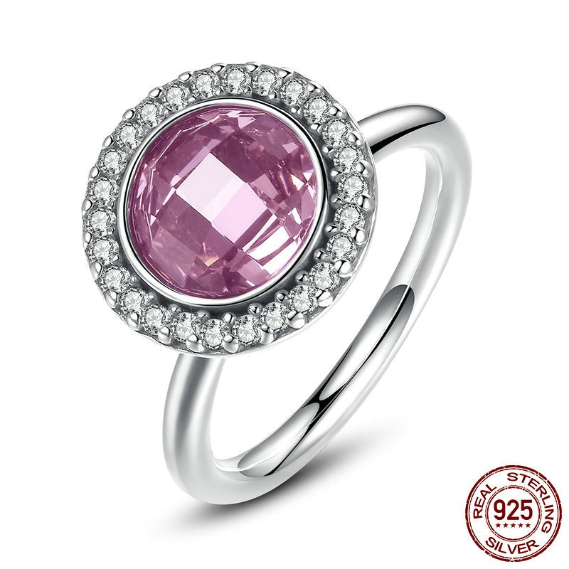925-Sterling-Silver Brilliant Legacy Ring with Pink & Clear Cubic Zirconia (CZ)