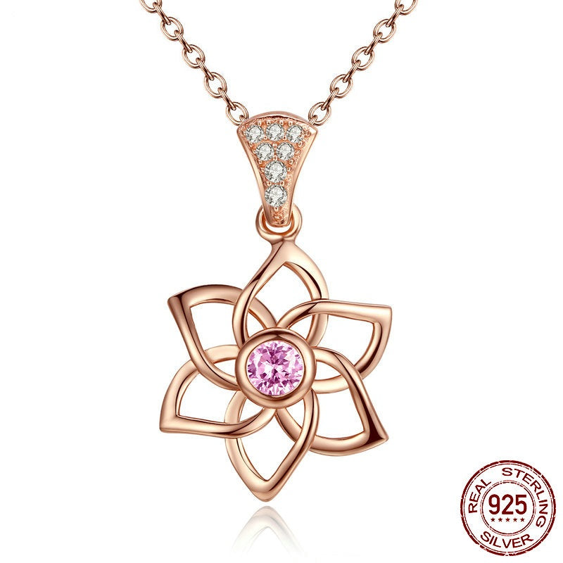 Floral Pendant Necklace Crafted from Gold Plated Silver and Diamonds and Pink Garnet like  Crystals