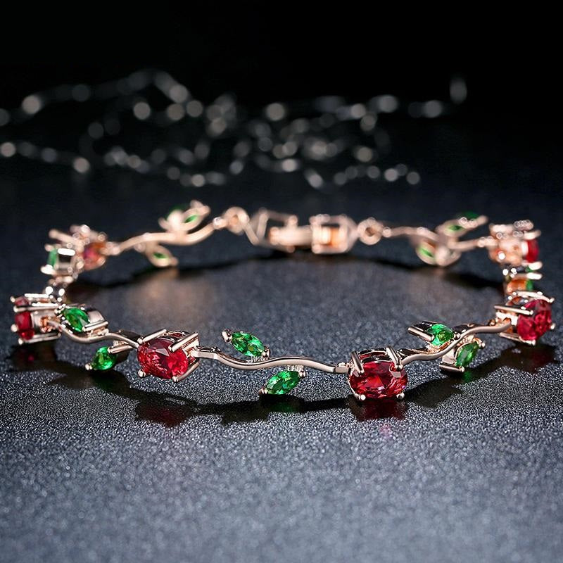 Elegance of Diamonds or Rubies and Green Garnet - Women's Gorgeous Gold Plated Bracelets with Brilliant Crystals (3 designs)