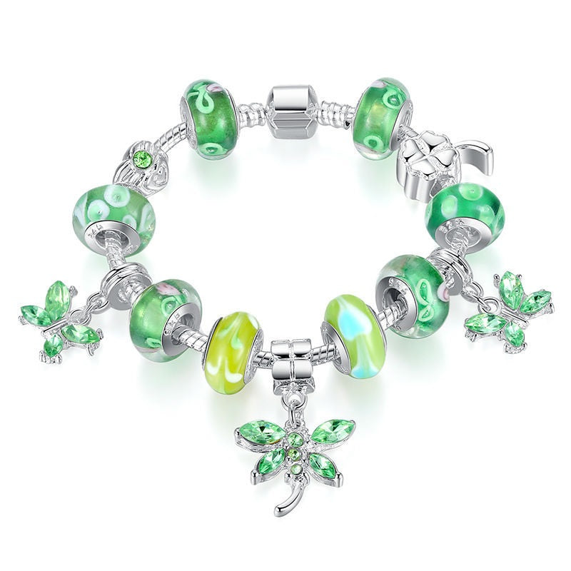 Women's Gorgeous Bracelets with Cool Shades of Green Color and 3 Hanging Butterflies