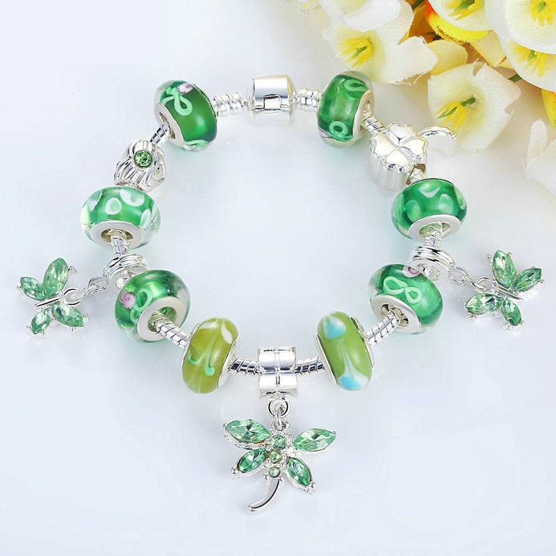 Butterfly Charm Bracelet Bangle for Women With Green Beads