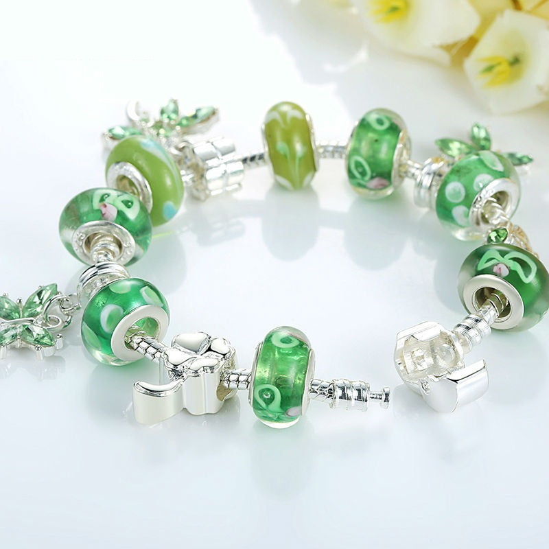 A Walk in the Garden - Women's Gorgeous Bracelets with Cool Shades of Green Color and 3 Hanging Butterflies