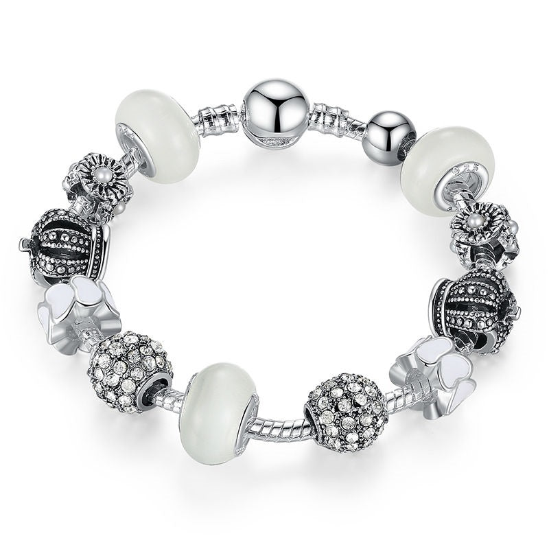 Women's Eye Catching Bracelet with Beads Paved with Crystals - Silver with Pink, Blue, Black & White - 4 Color Options