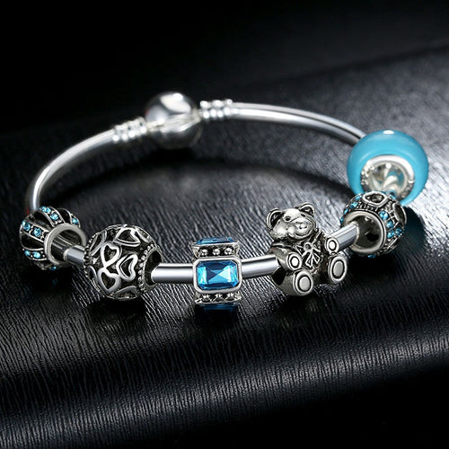 Women's Lovely Charm Bracelet in Cool Blue and Silver Beads and a Cute Beer