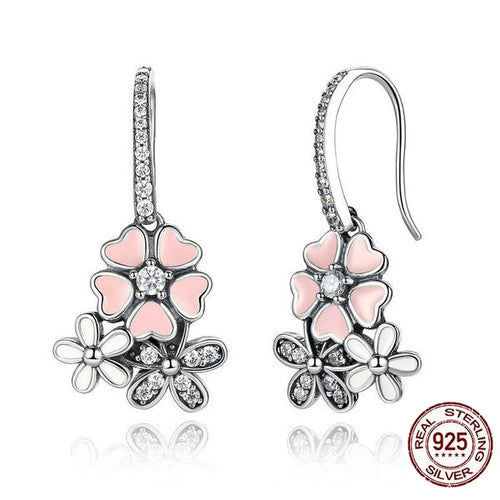Beauty of Flowers - Cute Drop Earrings Crafted from Silver and Crystals