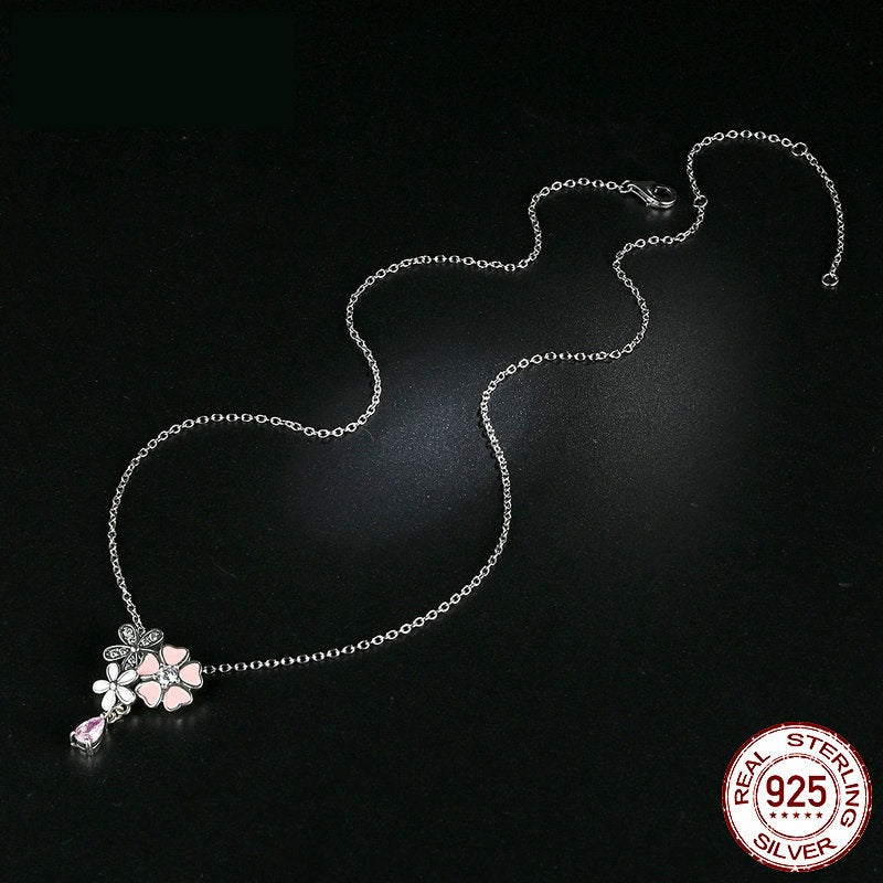 Original 925 Sterling Silver Pink Heart & Cherry Blossom Flower Pendant & Necklace