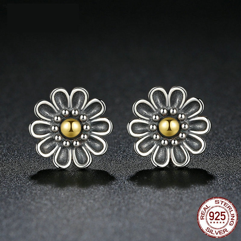 Authentic 100% 925 Sterling Silver Black Chrysanthemum Flower Stud Earrings For Women