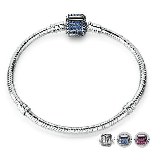Cute Bracelets Crafted from Silver, with Clasp Paved with Blue Crystals
