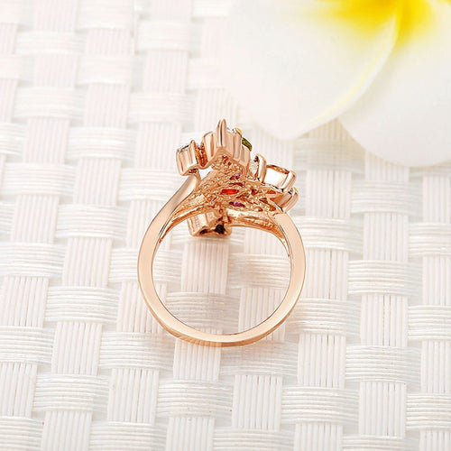 Eye Catching High Quality Gold Plated Finger Ring for Women with Crystals