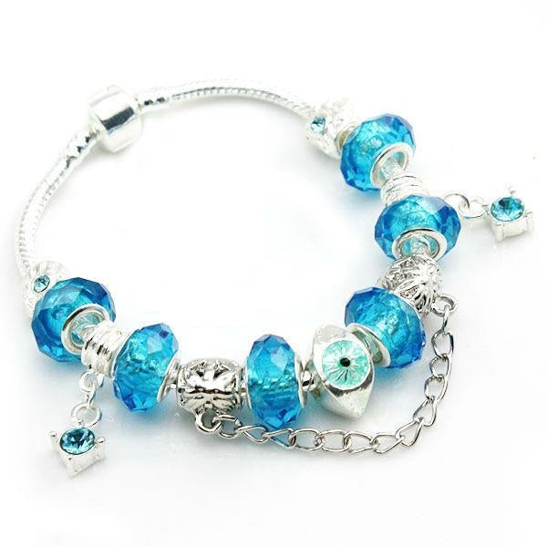 Women's Lovely Silver Plated Crystal Charm Bracelet with Gorgeous Beads