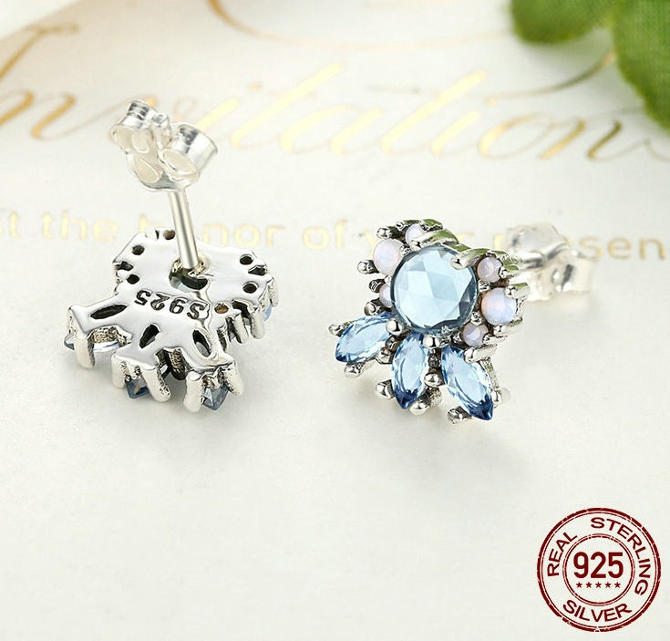 Peaceful Blue - Cute Earrings Crafted from Silver