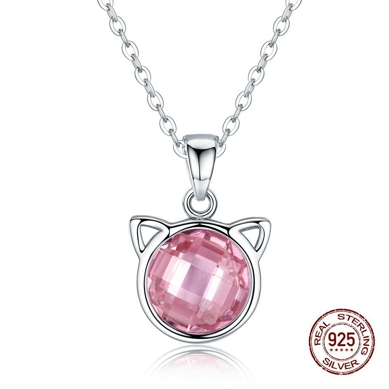 Women's Cute Cat Pendant Necklace with an Elegant Pink Crystal