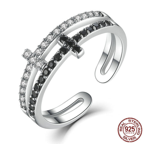 Women's Cute Open Finger Ring with Double Layer Cross Crafted from Silver and Paved with Clear and Black Crystals