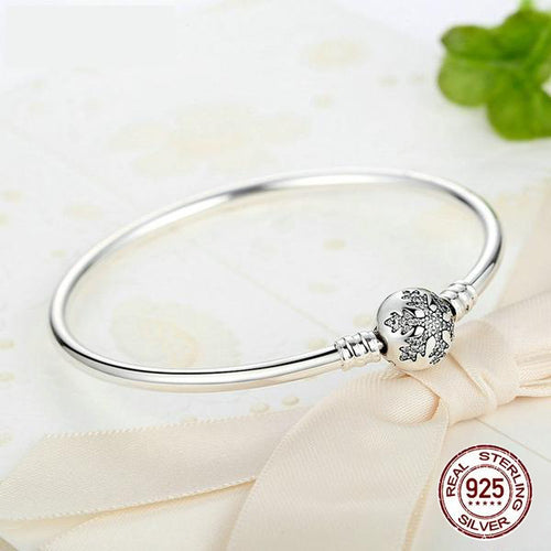 Authentic 925 Sterling Silver Bangle with Engrave Snowflake Clasp