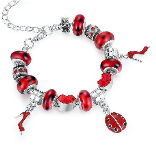 Women's Bracelet with Red Beads, Red Lips and Cute Red Shoes