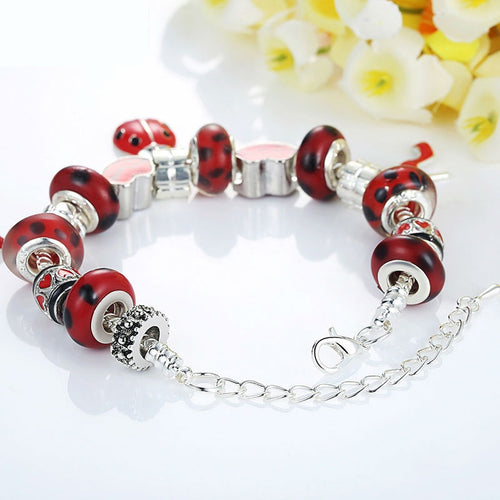 European Silver Charm Bracelet for Women With Murano Glass Beads
