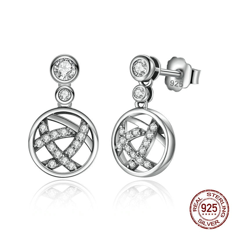 Elegance of Diamonds - Women's Abstract Design Round Earrings Crafted from Silver and Diamond like Crystals
