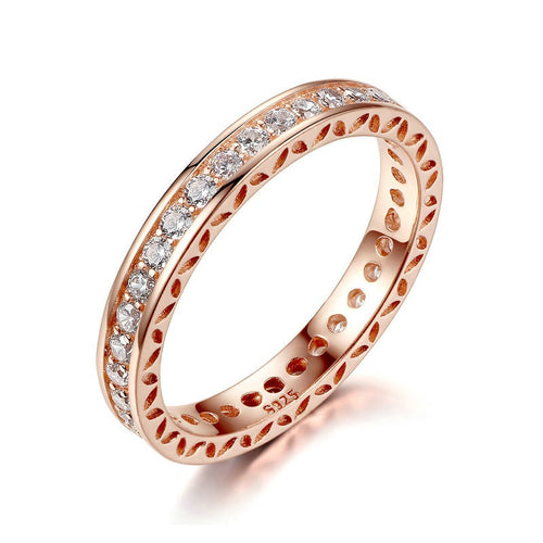 Women's Rose Gold Plated Fashion Finger Ring Paved with Sparkling Crystals