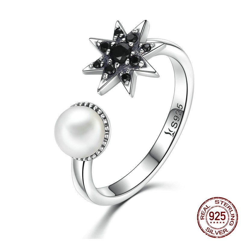925 Sterling Silver Women's Finger Ring with Black Star with Cubic Zirconia Crystals and Freshwater Pearl