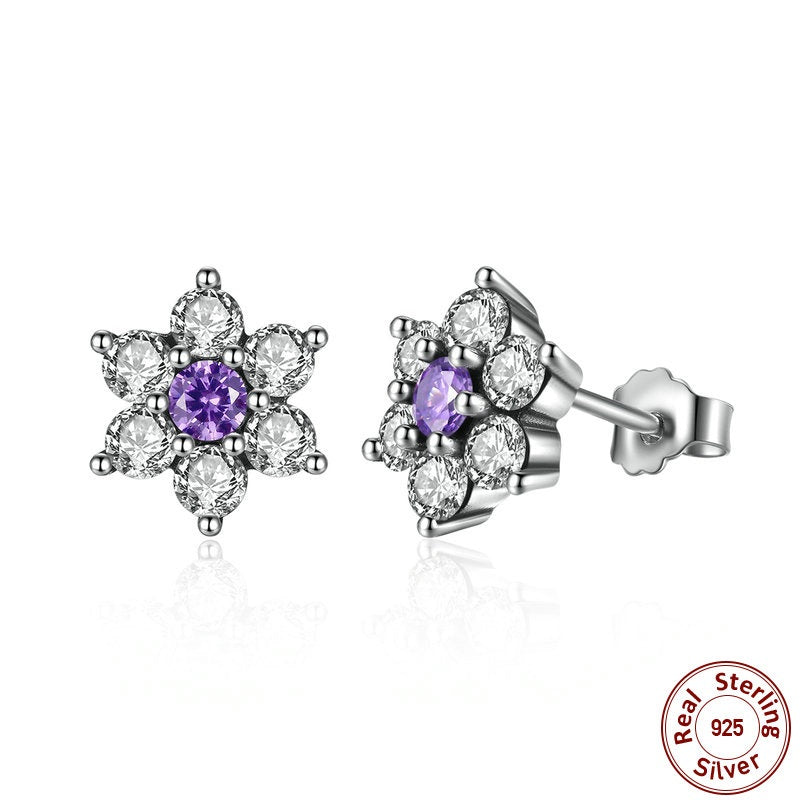 Cuteness of a Flower - Dazzling as a Star - Earrings Crafted from Silver and Purple & Clear Crystals