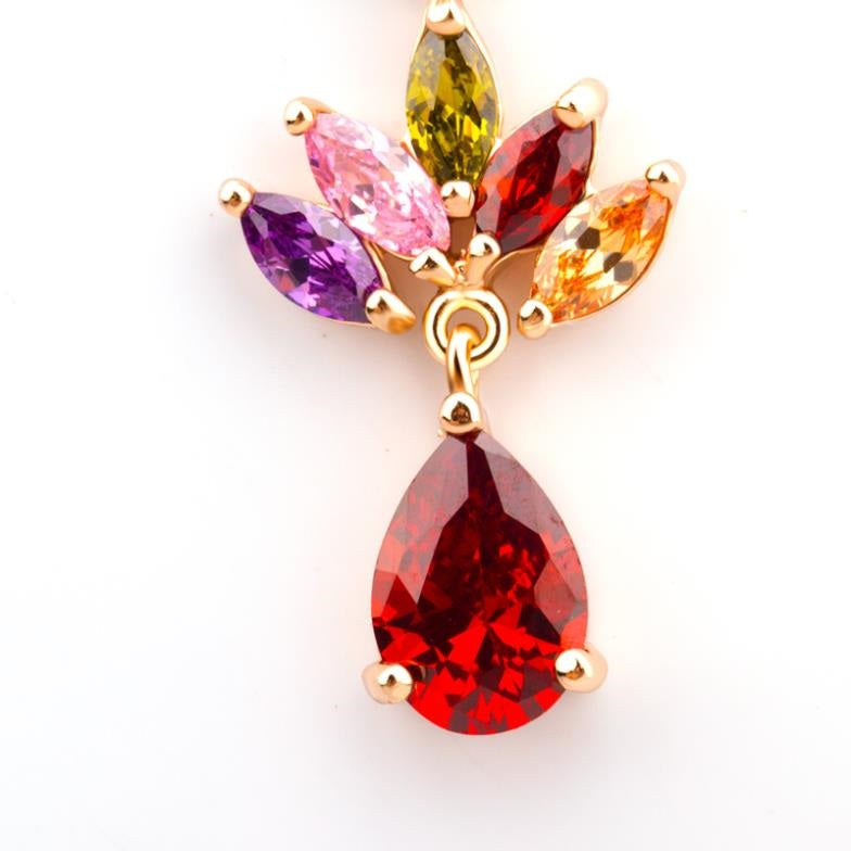 Rain of Flowers - Cheerful Gold Plated Flower Long Drop Earrings with Colorful Crystals