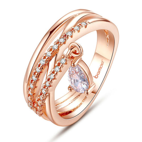 Rose Gold Plated Lovely Finger Ring with Crystal Pendant for Women