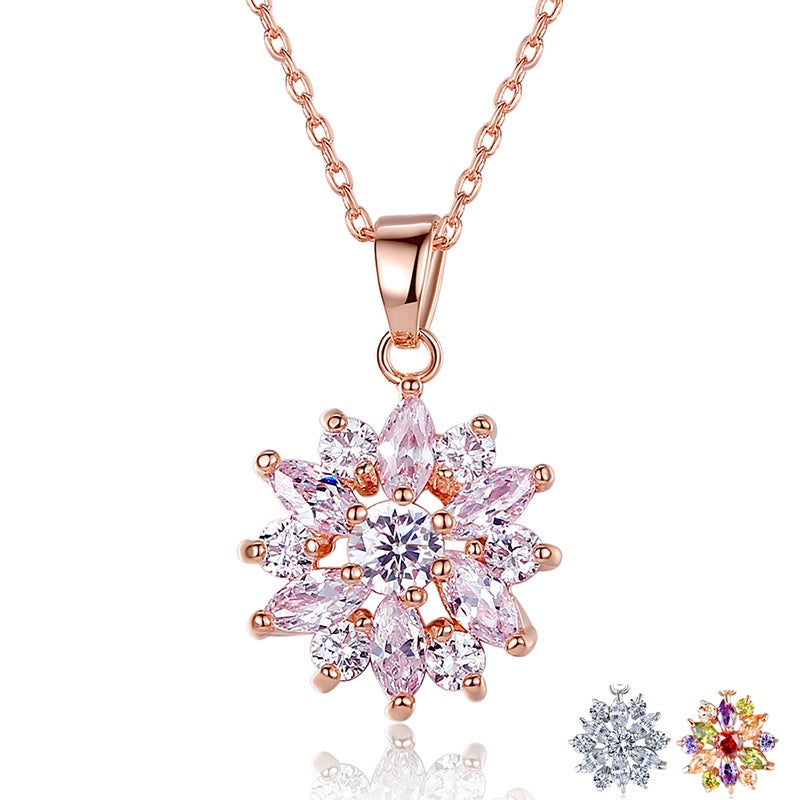Women's Gold Plated Pendant Necklace with Diamonds like Clear Crystals