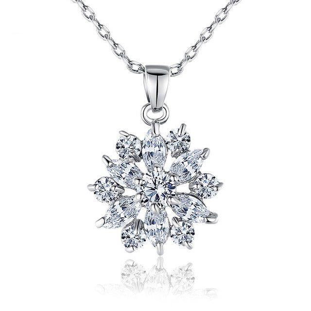 Women's White Gold Plated Pendant Necklace with Diamonds like Clear Crystals