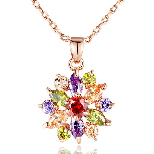 Women's Gold Plated Pendant Necklace with Multi-colored Crystals