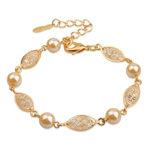 Designer Gold Plated Fashion Bracelets with Golden Mesh, filled with Sparkling Crystals and Golden Pearls