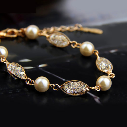 Bracelets with Golden Mesh, filled with Sparkling Crystals and Golden Pearls