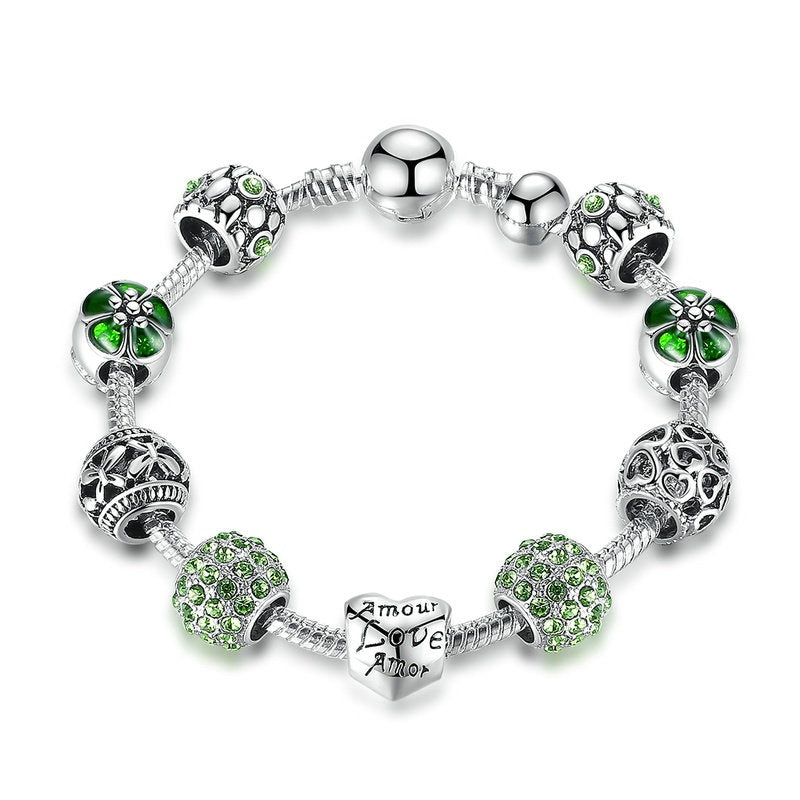 Green and Clear Cubic Zirconia Charm Bracelets for Women