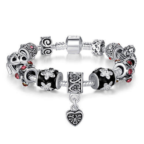 Popular Silver Heart Charm Bracelet for Women With Glass Beads