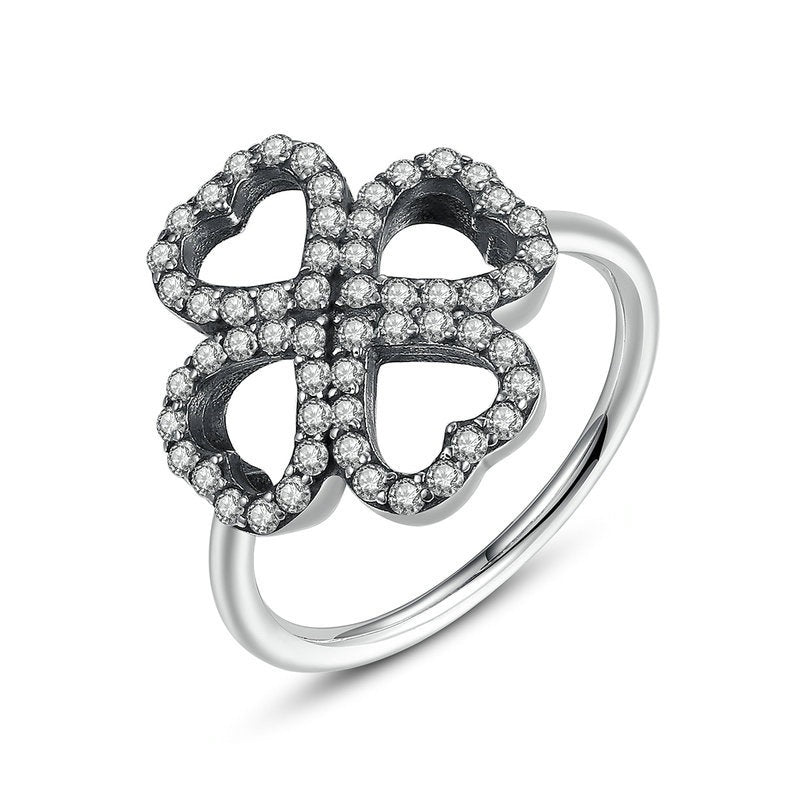Flower with Heart-Shaped Petals - A Cute Ring Crafted with Silver Plated Copper and Crystals