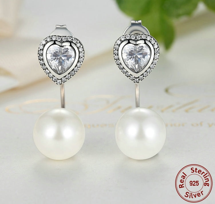 Peace of Pearl with Love in Heart - Earrings Crafted from Silver, Diamonds like Crystals and Pearls