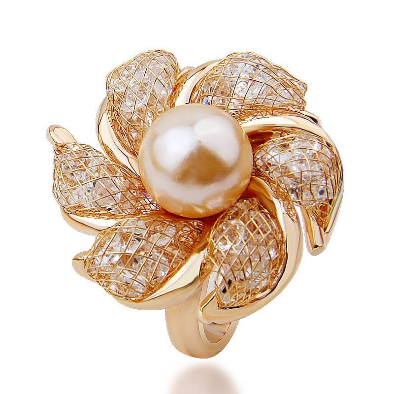 Women's Cute Rose Gold Plated Ring with Imitation Pearl and Crystals