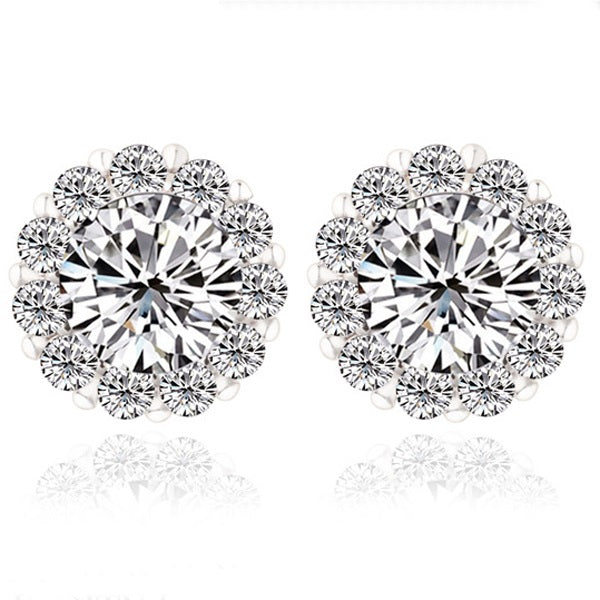 Richness of Diamonds - Gorgeous Platinum Plated Stud Earrings with a Big Round Crystal Surrounded by Small Diamond like Crystals