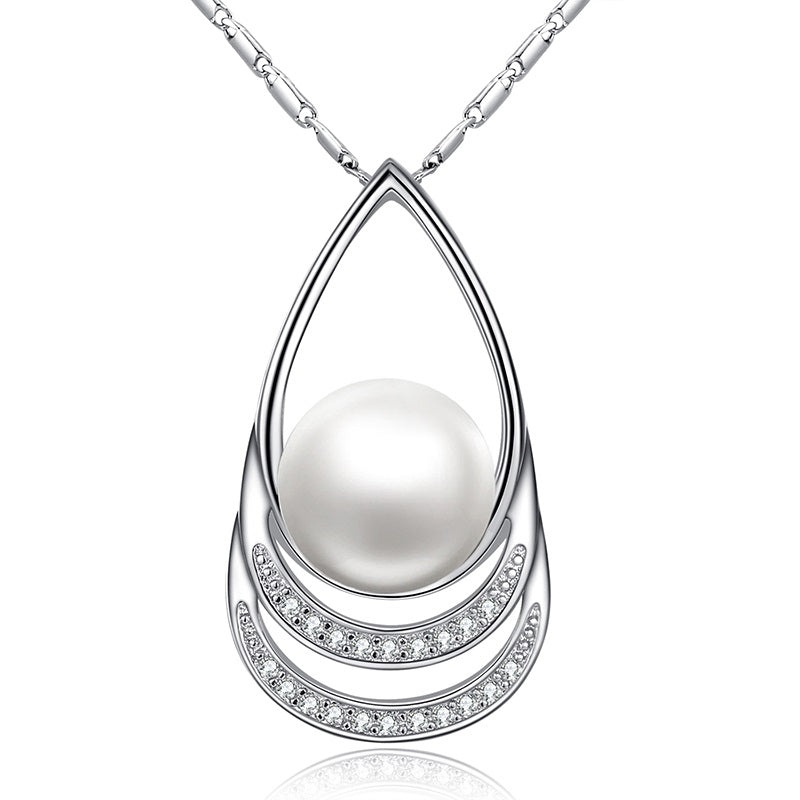 Beauty of Diamonds and Pearl - 5 Designs of White Gold Plated Gorgeous Pendant Necklaces, Paved with Crystals