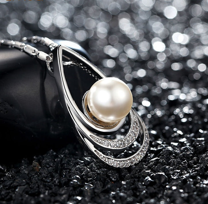 Beauty of diamonds and pearl 5 designs of white gold plated gorgeous pendant necklaces paved with crystals beauty of diamonds and pearl 5 designs of white gold plated gorgeous pendant necklaces aloadofball Gallery