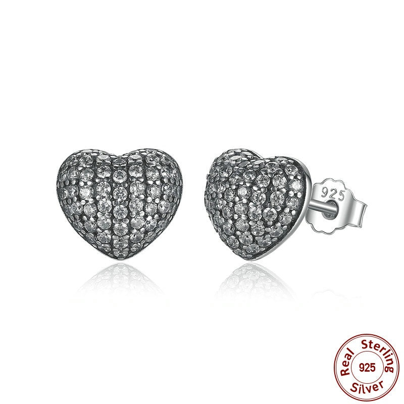 Elegance of Diamonds like Crystals - Gorgeous Heart Stud earrings Crafted from Silver