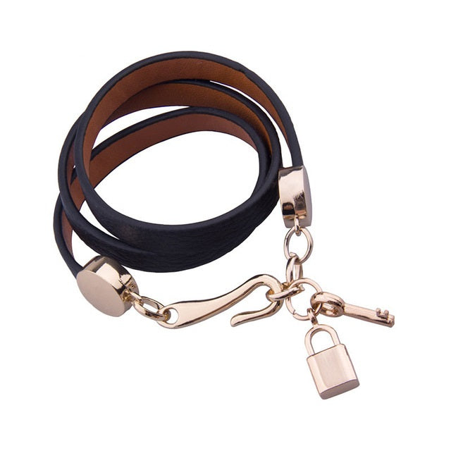 Black Leather Bracelets with Gorgeous Gold Plated Lock & Key Charm