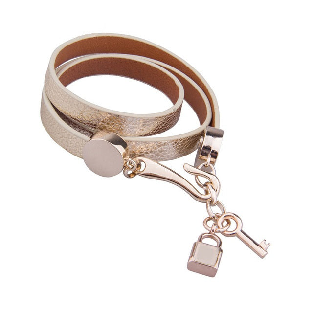 Gold Color Leather Bracelets with Gorgeous Gold Plated Lock & Key Charm
