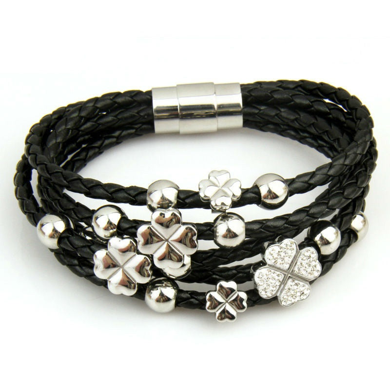 Gorgeous Leather Wrap Bracelet with Flower with Heart Shaped Petals in Black Color