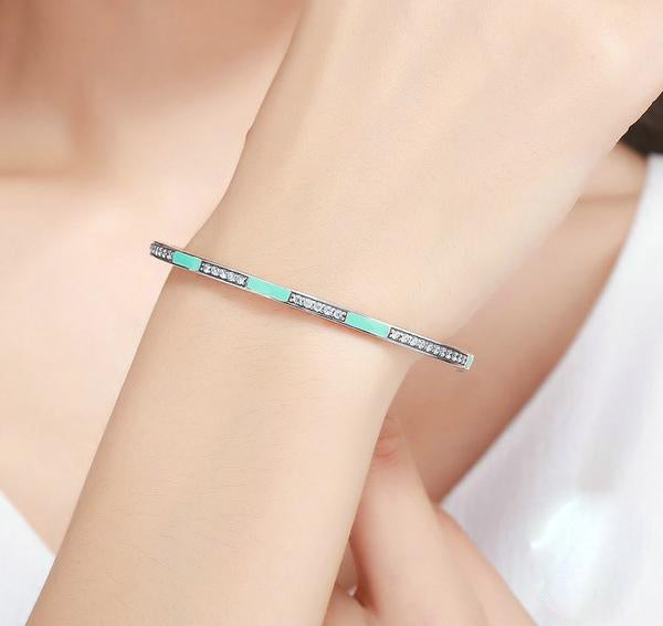 Simple yet Cute Bangle with Hearts, Crafted from Silver and Crystals - Cool Green