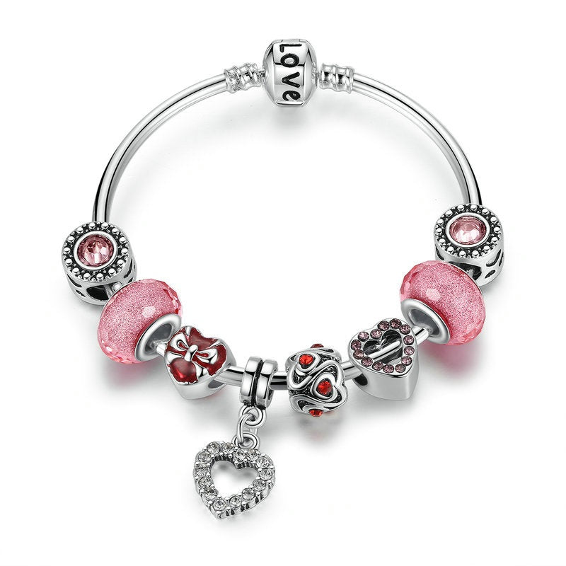 Women's Bracelet in Cute Pink & Red Beads and with Heart Pendant