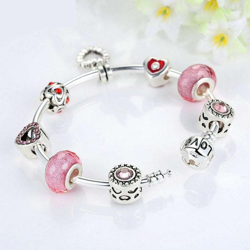 Chain Bangle with Pink Heart Charm, Heart Pendant and Pink Beads